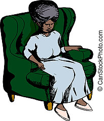 Woman In Green Chair - Single elderly woman sitting in green...