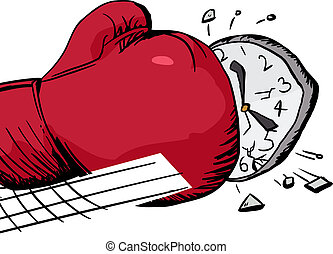 Punching a Clock - Isolated over white cartoon of boxing...