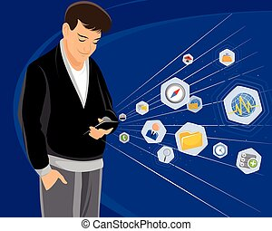 Guy with smartphone - Vector illustration of a guy with...
