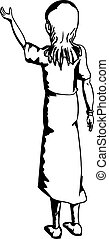 Outline of Woman Lifting Something - Outline cartoon of...