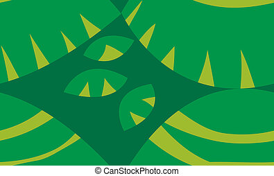 Green Turtle Shell Shapes - Seamless green background of...