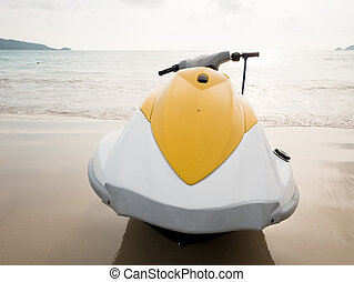 Water scooter on the beach
