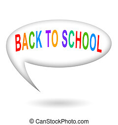 Back to school, colorful inscription inside speech bubble...