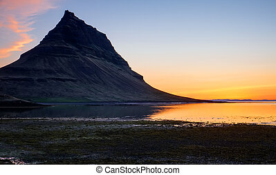 Mount Kirkjufell at sunset - Sunset at Mount Kirkjufell on...