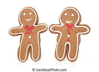2 Gingerbread Men Smiling - Two Gingerbread Men Smiling and...