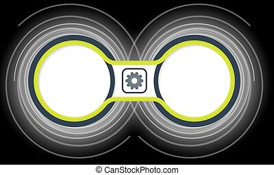 Two colored circular frames for your text and cogwheels