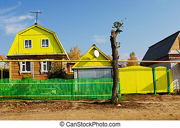 typical farmstead and outbuildings in Mari El, Russia - a...