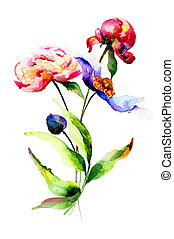 Spring flowers, watercolor illustration