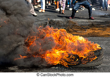Protest Action with Burning Tyres - Protesters against the...