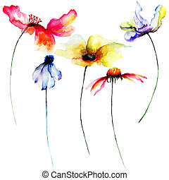 Set of watercolor flowers. Hand drawn floral elements for...