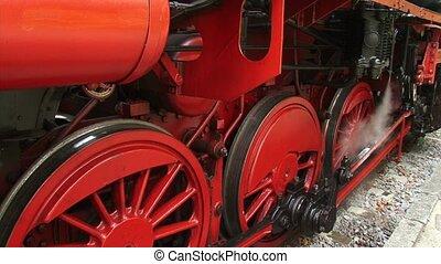 Steam locomotive under pressure + steaming valve + pan red...