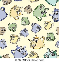Seamless pattern with tea pots and cups - Seamless pattern...