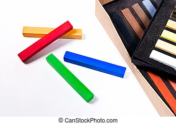 Close up view of the chalk pastels.