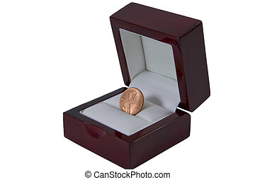 Penny in Proposal Box - Old Penny in Luxurious Red Proposal...