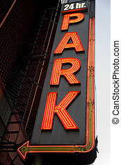 Park Sign - Neon 24 hour parking sign in new york city