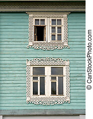 windows with carved wooden platbands - windows with carved...