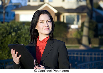 Confident Real Estate Woman in Red - Confident Real Estate...