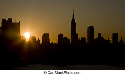 Manhattan Skyskrapers silouettes - Skyline view of manhattan...