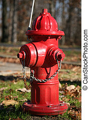 Red fire hydrant - Red Fire Hydrant in green grass with...