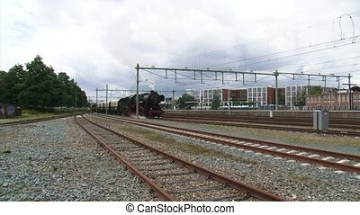 Steam train departure Apeldoorn railway station - on camera...