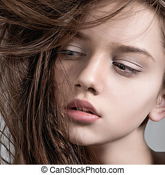 Fashion model with full lips. Close-up portrait - Fashion...