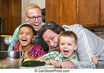 Laughing Family with Gay Dads in Kitchen - Same sex couple...
