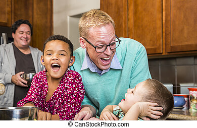 Family with Two Gay Men Laughing - Same sex couple with two...