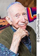 Elderly Gentleman Wearing Yarmulke - Elderly gentleman...