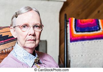 Elderly Woman in Livingroom
