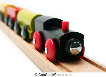 Isolated Toy Train - Wooden Toy Train Set on White...