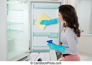 Woman Cleaning Refrigerator With Rag - Young Woman Cleaning...