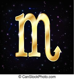 Scorpio Zodiac symbolon a starry sky background