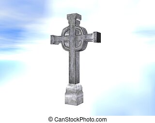 Cross stone - Rendered stone cross or crucifix celtic...