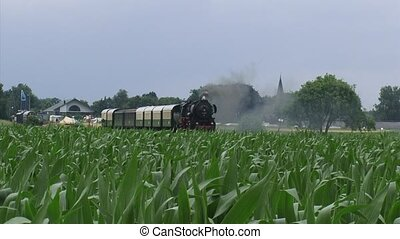 Steam train retro carriages riding in countryside - on camera