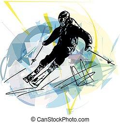 Skiing sketch illustration - Illustration of skier skiing...