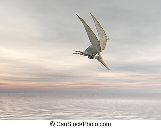 Pteranodon - Pterodactyl or Pteranodon flying over the ocean...