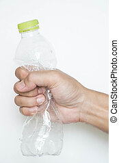 Male hand squeeze plastic bottle