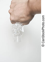 Male hand squeeze plastic bottle - Male hand squeeze and...