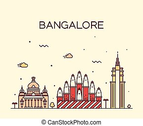 Bangalore skyline vector illustration linear - Bangalore...