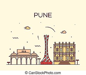 Pune skyline trendy vector illustration linear - Pune...