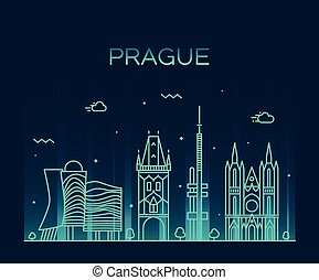 Prague skyline trendy vector illustration linear - Prague...