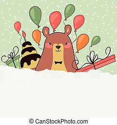 Holiday with cute bear. Vector illustration of a cheerful bear with pink air balloon, a cake, gifts. Congratulations to the day of birth.