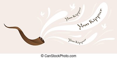 shofar, horn, of Yom Kippur for Israeli and Jewish holiday -...