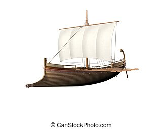 Ancient Greek Ship - An Ancient Greek ship isolated over...