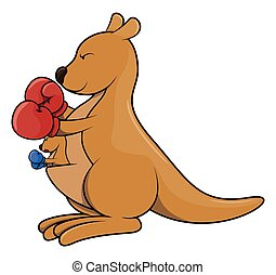 kangaroo boxing cartoon illustration isolated white