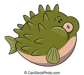 Puffer fish cartoon illustration isolated white