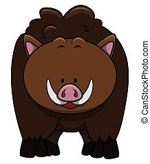 Wild boar cartoon illustration