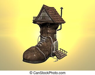 Shoe House - Ilustrated 3d of the fairy tale shoe house