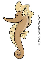 Sea horse cartoon illustration isolated white