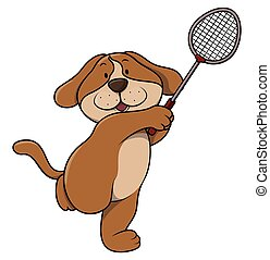 Dog playing tennis cartoon illustration isolated white